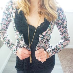 Guess floral crop cardigan (NEW)